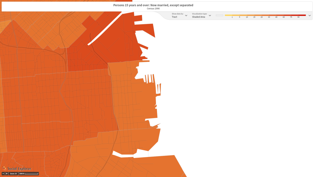 Figure 5. The percentage of people over the age of 14 married the following San Francisco Census tracts in 1990: 227.02, 227.04, 226, 607, 614