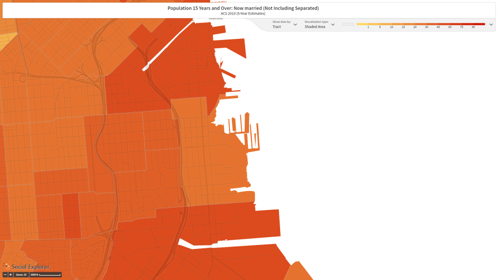 Figure 6. The percentage of people over the age of 14 married the following San Francisco Census tracts in 2010: 227.02, 227.04, 226, 607, 614