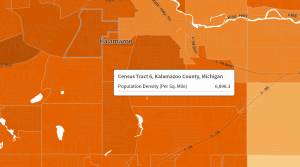 This is a picture of the current day population of Kalamazoo MI where one of my geolocations came from