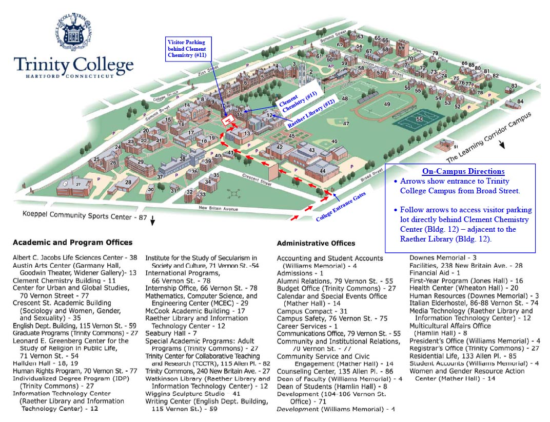 Maps and Directions | Trinity College Chemistry Department
