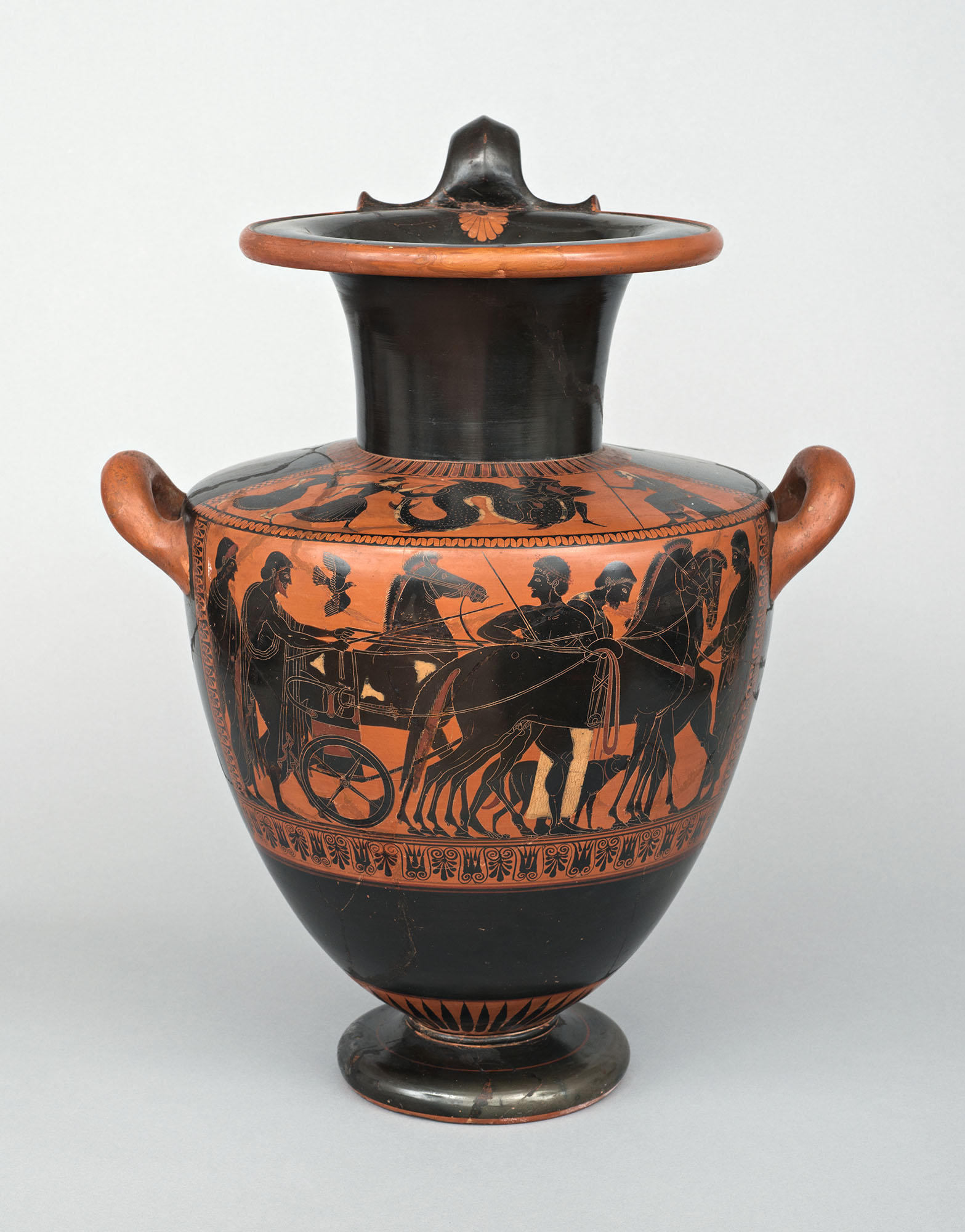 Hydria Greece, Athens, c. 530–500 B.C.E. Psiax Clay, wheelmade, black-figure painted; 18 1/2 x 15 1/2 in. Wadsworth Atheneum Museum of Art The Ella Gallup Sumner and Mary Catlin Sumner Collection Fund, 1961.8