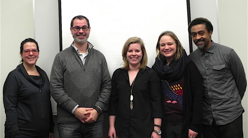 Aidali Aponte-Aviles, Carlos Espinosa, Jennifer Roberts, and Seth Markle pose for a picture at the end of their last Fall 2017 Digital Storytelling Meeting.