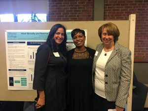 """Maternal Health and Infant Mortality in Hartford, CT"" project with the Department of Health and Human Services, Maternal and Infant Outreach Program, City of Hartford. From Left to Right - Elby Gonzalez-Schwapp, Chelsea Armistead '18, and Professor Dina Anselmi."