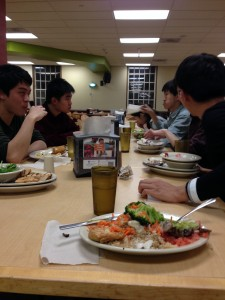 Asians sit together at Mather