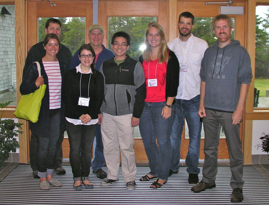 Members of the Trinity Algae Lab attending the 51st Northeast Algal Symposium in April 2012 at the Schoodic Point Education and Research Center, Acadia Nat'l Park, Winter Harbor, Maine. L to R, Thea Popolizio, grad student in URI and Trinity labs; John Perella, honorary member; Gina Filloramo ('10), grad student UNB; Craig Schneider; Todd Chengsupanimit ('14); Amy Kivela ('12); Chris Lane ('99), Assist. Prof. URI; Dan McDevit ('01), Asst. Prof. Edison College.