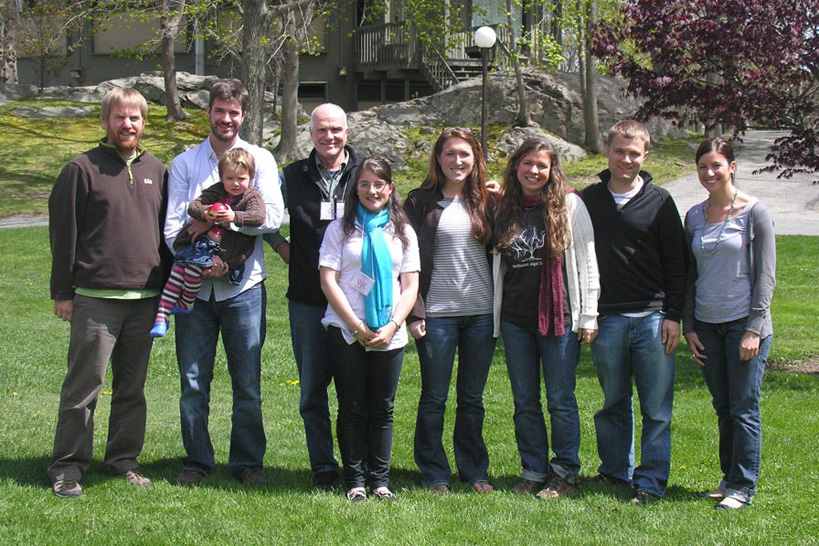 Members of the Trinity Algae Lab attending the 49th Northeast Algal Symposium in April 2010 at Roger Williams University, Bristol, RI. L to R, Dan McDevit ('01), PhD candidate UNB; Chris Lane ('99), Assist. Prof. URI; Riley Lane with dad, Schneider; Gina Filloramo ('10), Lilly Hancock ('08), grad student URI; Elisabeth Cianciola ('10) [winner of the President's Award at NEAS for best undergraduate presentation]; Justin Pool ('08), grad student Ohio University; Thea Popolizio, grad student in Chris' and Trinity labs.