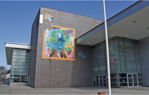View of main entrance at John C. Daniels Interdistrict Magnet School of International Communication.