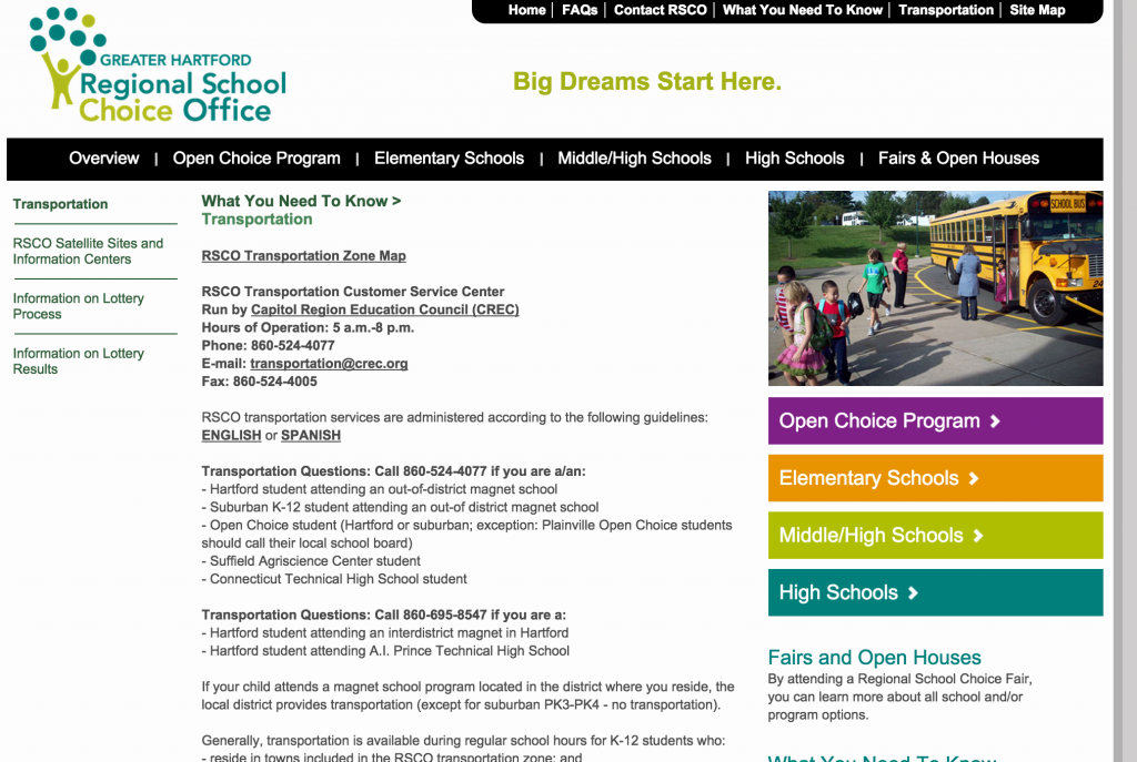 A screenshot of the Regional School Choice Office's transportation webpage.