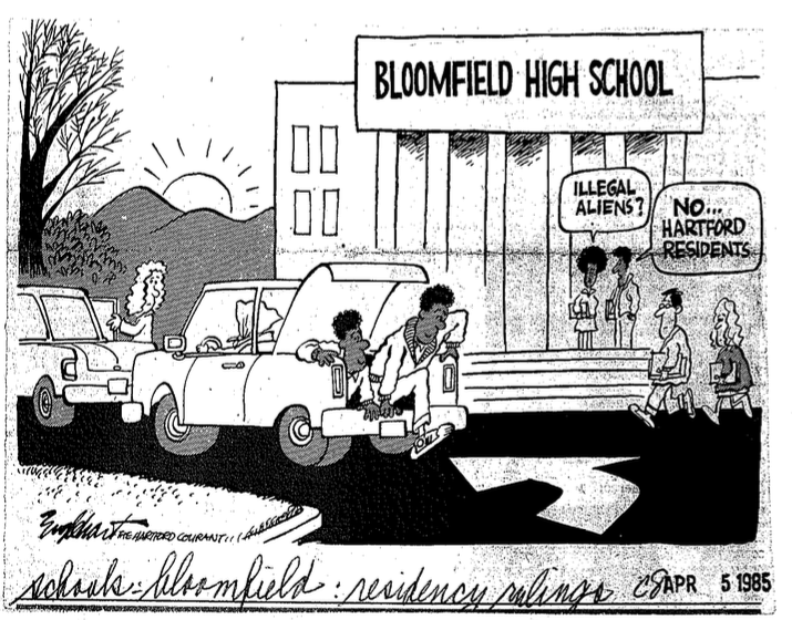 Editorial cartoon from the Hartford Courant portrayed the mainstream perception of line jumpers -Black students arriving in Bloomfield high school in the trunks of automobiles. Source: Hartford Courant. 1985. Print.
