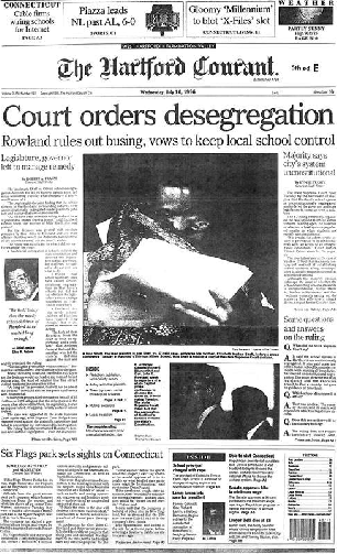 Front page of the Hartford Courant, Sheff v. O'Neill on July 10, 1996.