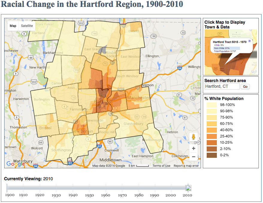 Investigate this interactive map to view the demographic changes in the Greater Hartford region over the past century, 1900-2010, from UConn Libraries MAGIC.