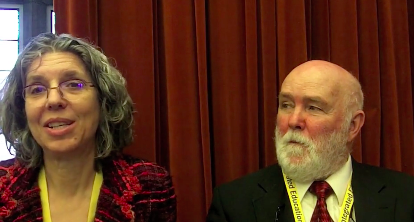 Carol Vinick and Tom Connolly in an interview at the Sheff 25 anniversary, oral history interview. 2014.