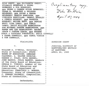 The Sheff vs. O'Neill Complaint filed in 1989 Source: Trinity College Digital Repository