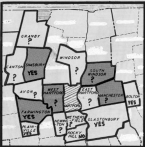 Towns surrounding Hartford that participated in Project concern, 1966.