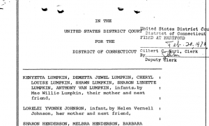 Screenshot of Filed Complaint by Plaintiffs on February 20, 1970; Courtesy of: United States District Court for the District of Connecticut