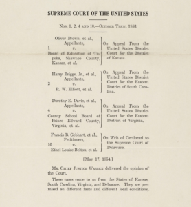 Brown v. Board of Education, Original Court File; Courtesy of: OurDocuments.gov