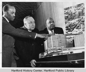 Samuel J. Cullers (right) and Corneal A. Davis, Hartford Redevelopment Project Model. Connecticut History Online