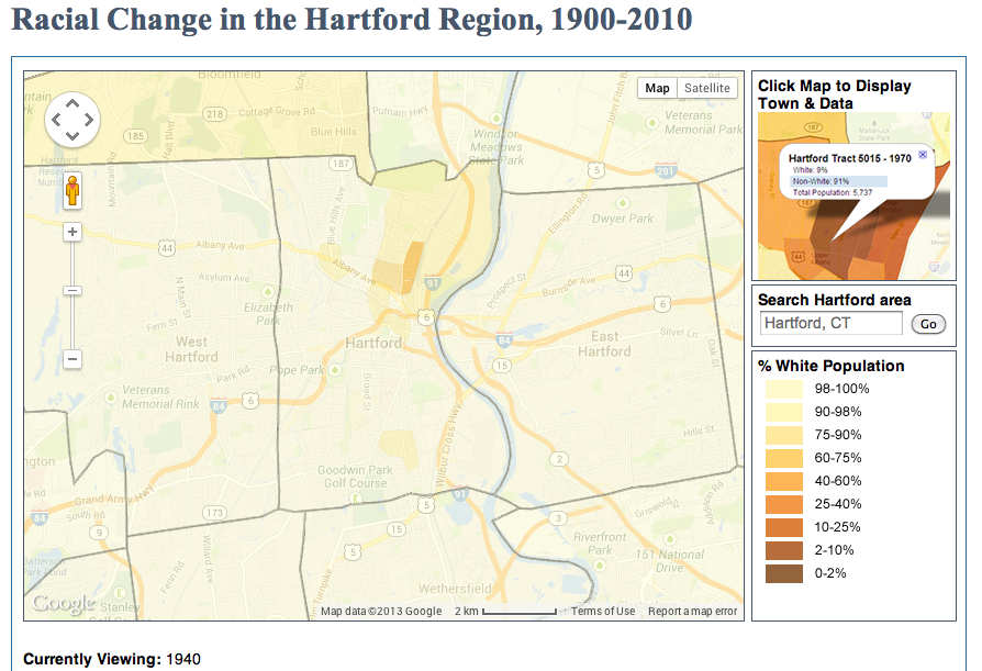 (Source: UCONN MAGIC) Racial Change in the Hartford Region, 1940