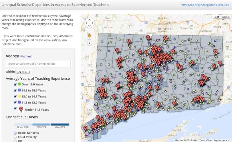 Click map to explore CT Voices - Unequal Schools - teacher experience