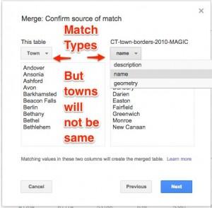 google fusion match merge