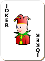 joker card with boyish character on it