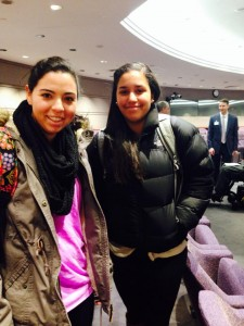 Trinity Students Christina Raiti (left) Biance Brenz (right) in attendance at Connecticut Education Committee Meeting