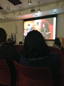 Audience members watching the documentary American Promise