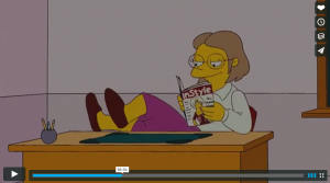Simpsons cartoon of the teacher who just qualified for Tenure so she stops teaching and goes to relax and read a magazine.