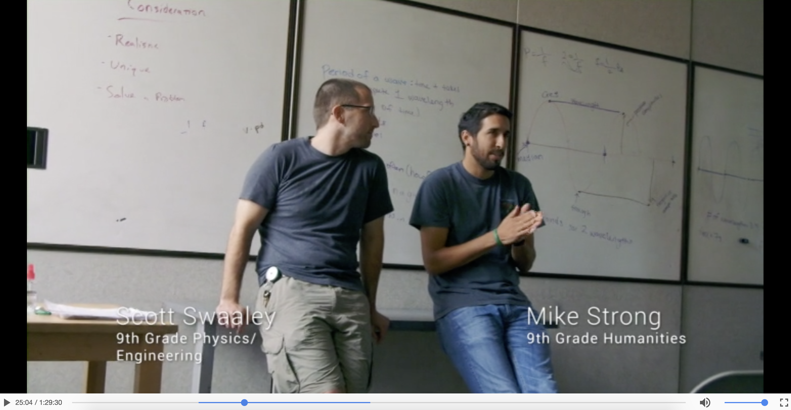 This key scene captures the essence of High Tec High. A physics/engineering  and a humanities teacher are working together to develop a project that  combines ...
