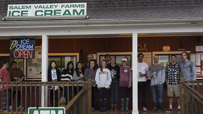 It's never too wet for ice cream! At the Salem Valley Farms Ice Cream store.