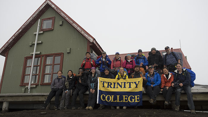 group shot in front of the Hraftinnusker hut