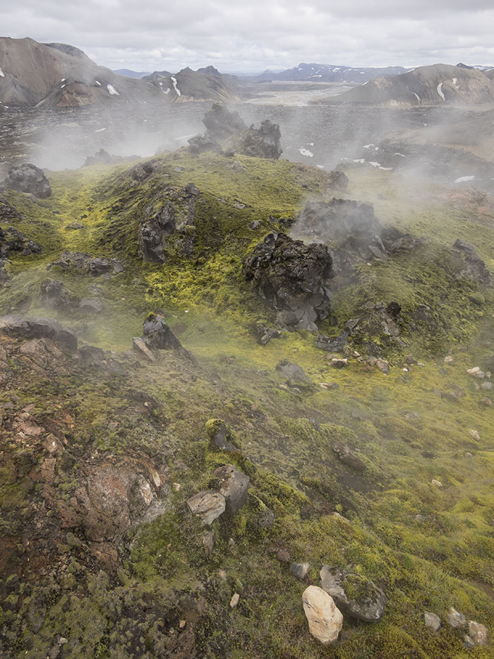 ... steam vents in the lava flow