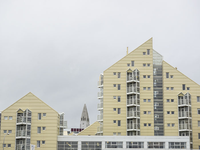 Ugly and expensive houses along the seashore.