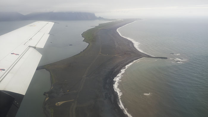 Flying across the gravel spit at Höfn.