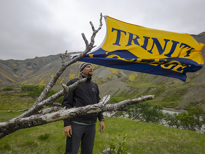 No need to start an international incident: the flag goes into a birch tree by our tent.