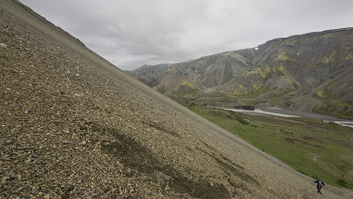 Scree slope at the angle of repose.