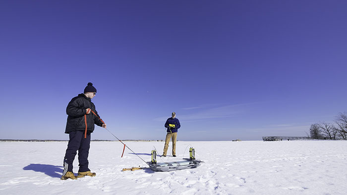March 2015 - Ground Penetrating Radar (GPR) survey at a Hammonasset State Park Salt Marsh