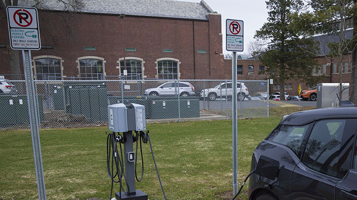electric car charging station on campus