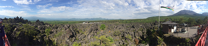 Panoramic of Mt. Asama (right) and 1783 lava flow (below).