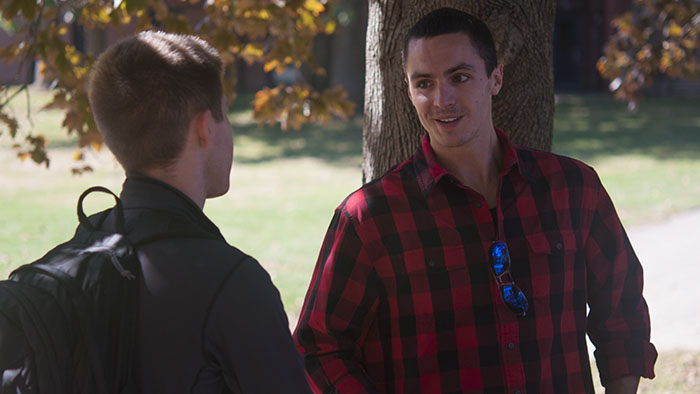 Nick talking to one of our students during McCookout