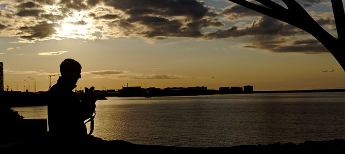 Taking sunset pictures in Reykjavik.