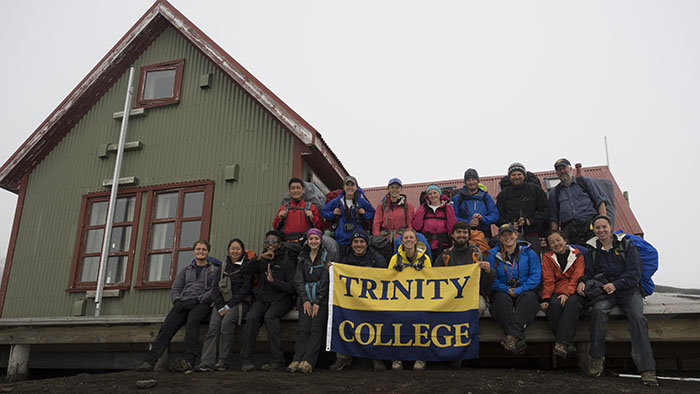 Out group at the Hraftinnusker Hut - we're still looking pretty good after six days on the trail!