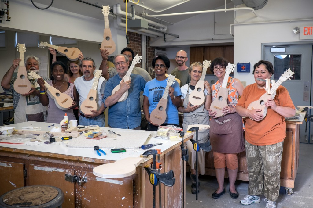 Workshop participants with their completed instruments.