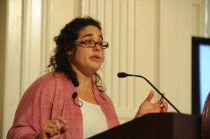 Stefanie Chambers speaking at Connecticut's Old State House in 2012.