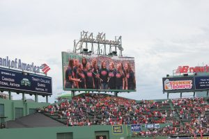 Trinity Quirks singing the National Anthem at Fenway Park