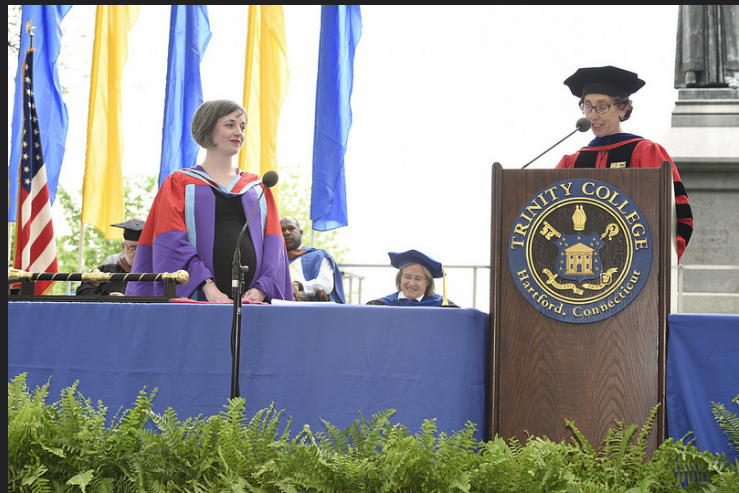 Prof. Reagan-Lefebvre being honored (photograph by Kevin Lacy; trinity flicker)