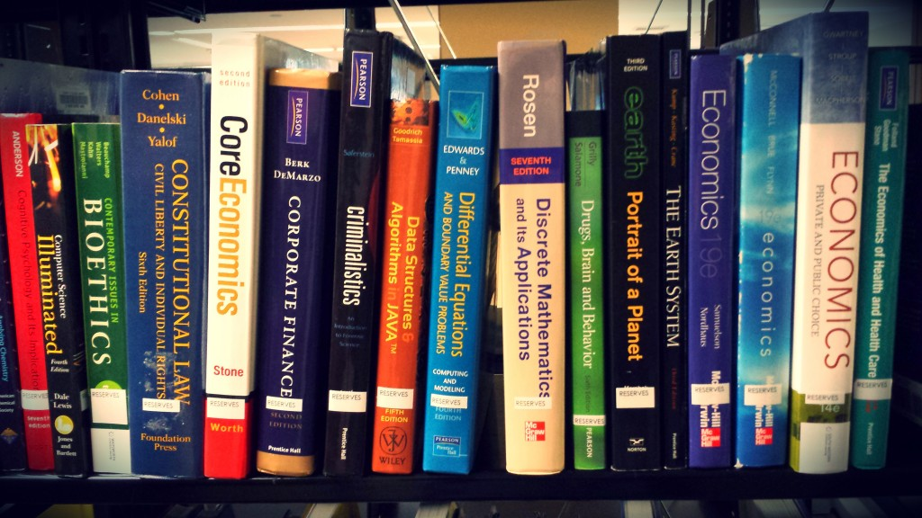 Textbooks on reserve can be checked out for short 2-3 hour loan periods.