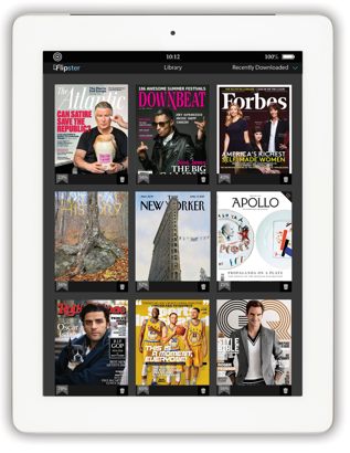 Covers of available magazines displayed on a tablet screen.