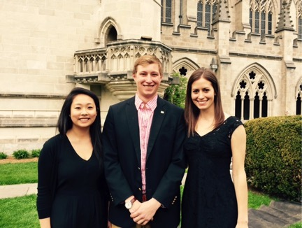 Pictured from left to right: Youlan Xiu '15, Andrew McChesney '15, Catherine Read '15.