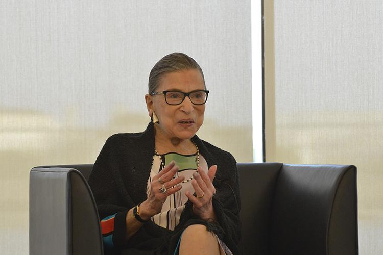 Justice Ginsburg speaking at Jones Day in Washington D.C. this past July. The photos of this discussion come from Duke Law's summary of the event which can be accessed by clicking the photo above.